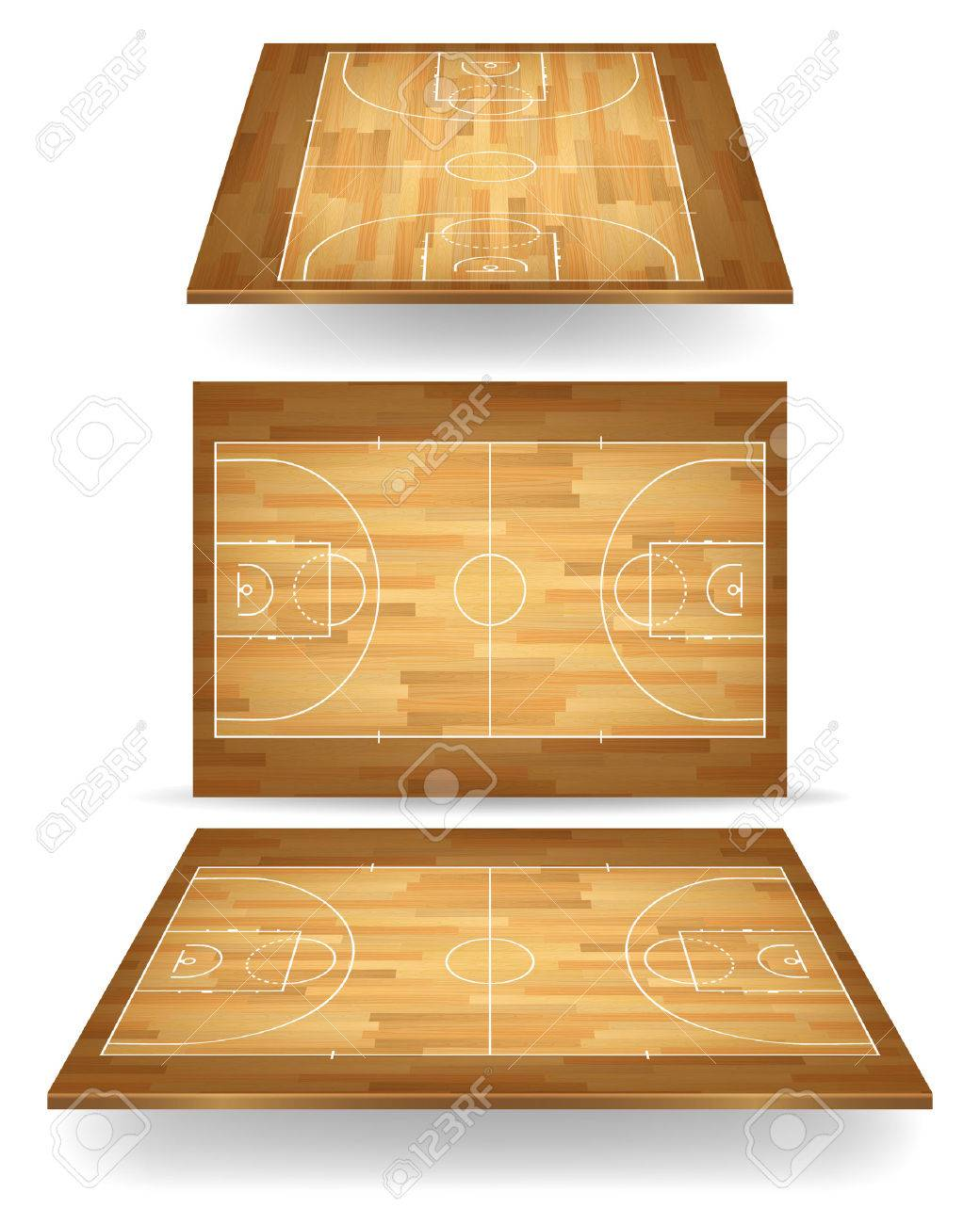 Wooden basketball court with perspective. Vector EPS10 illustration. - 39579303
