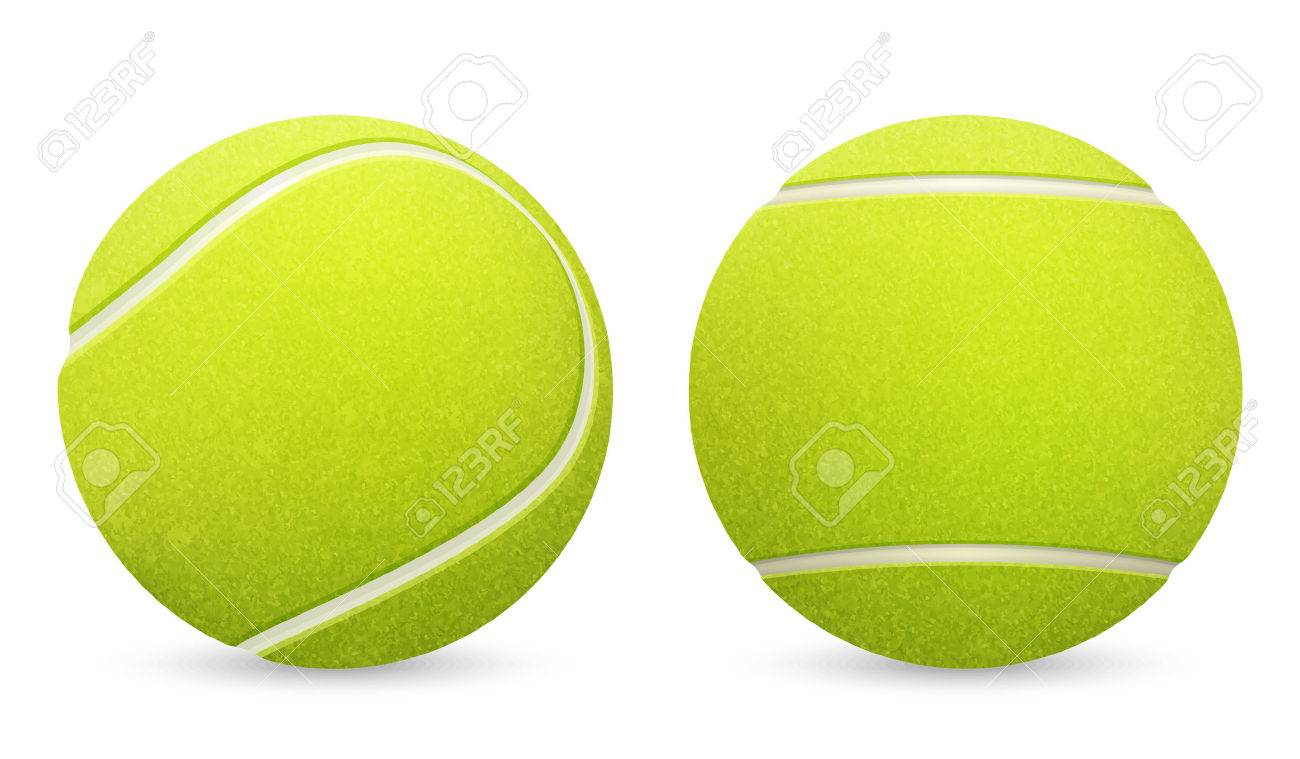 Closeup of two vector tennis balls isolated on white background. - 39878927