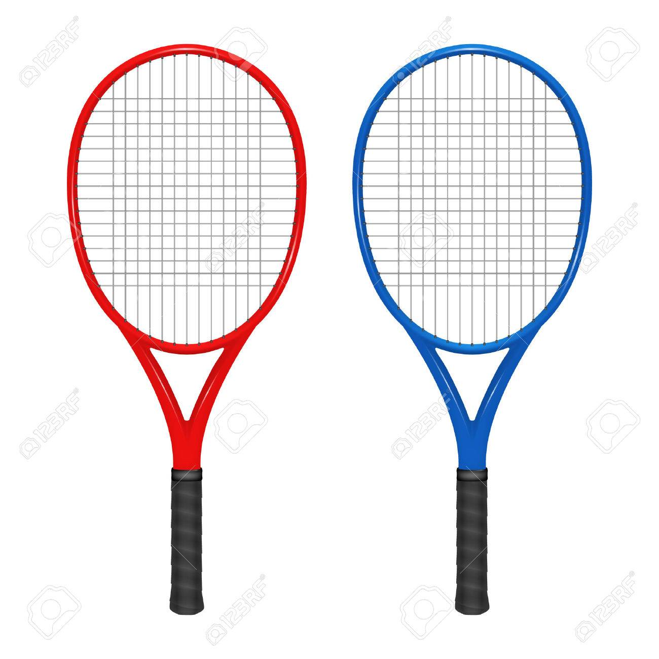 Two tennis rackets - red and blue. - 39890958