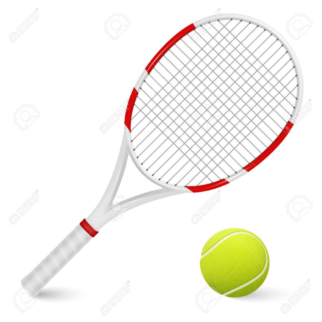 Combination of tennis racket and ball isolated on white background. - 39890963