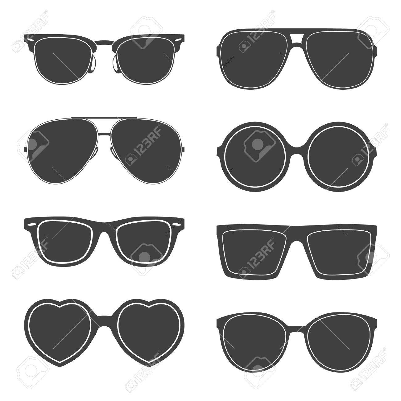 Vector set of sunglasses silhouettes. - 40899510