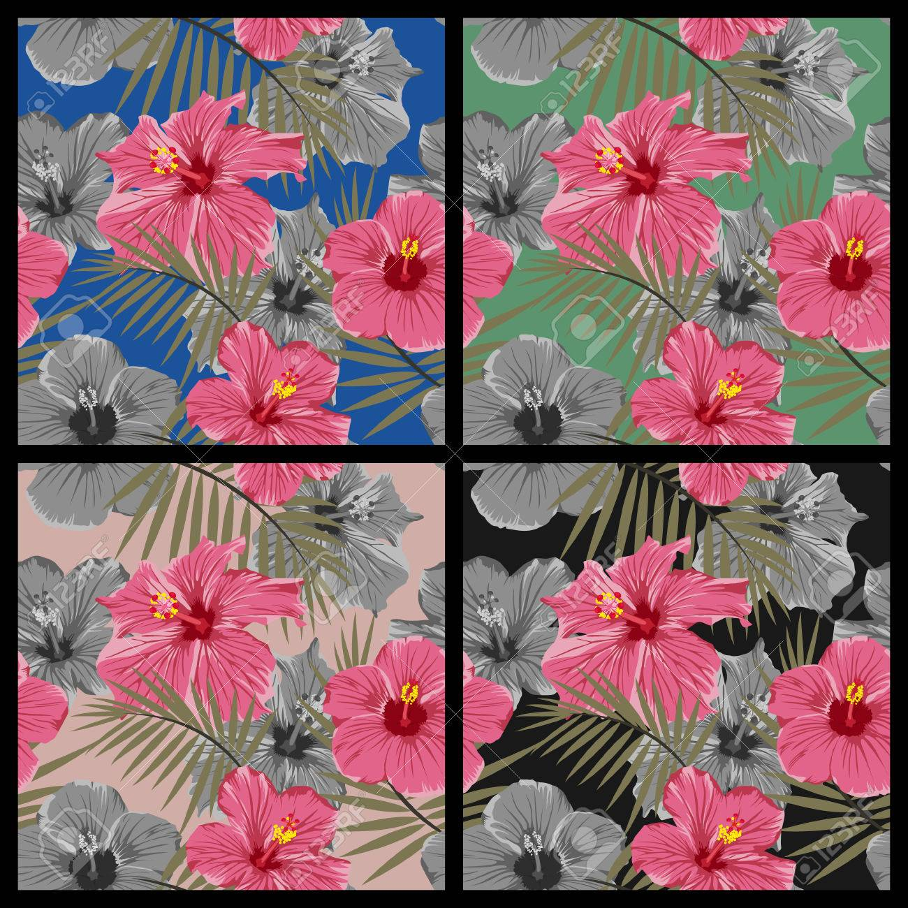 Set of tropical floral seamless patterns with hibiscus flowers set of tropical floral seamless patterns with hibiscus flowers vector eps8 illustration stock vector izmirmasajfo