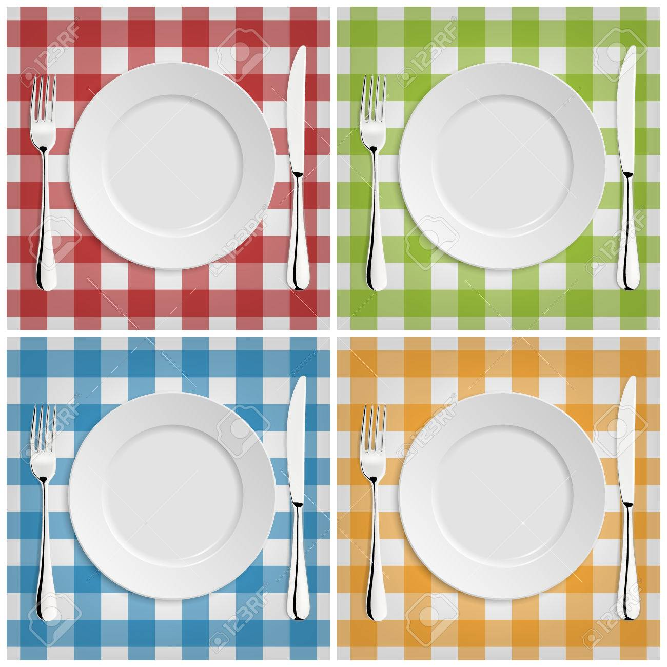 Empty plate with fork and knife at classic checkered tablecloth. - 43204311