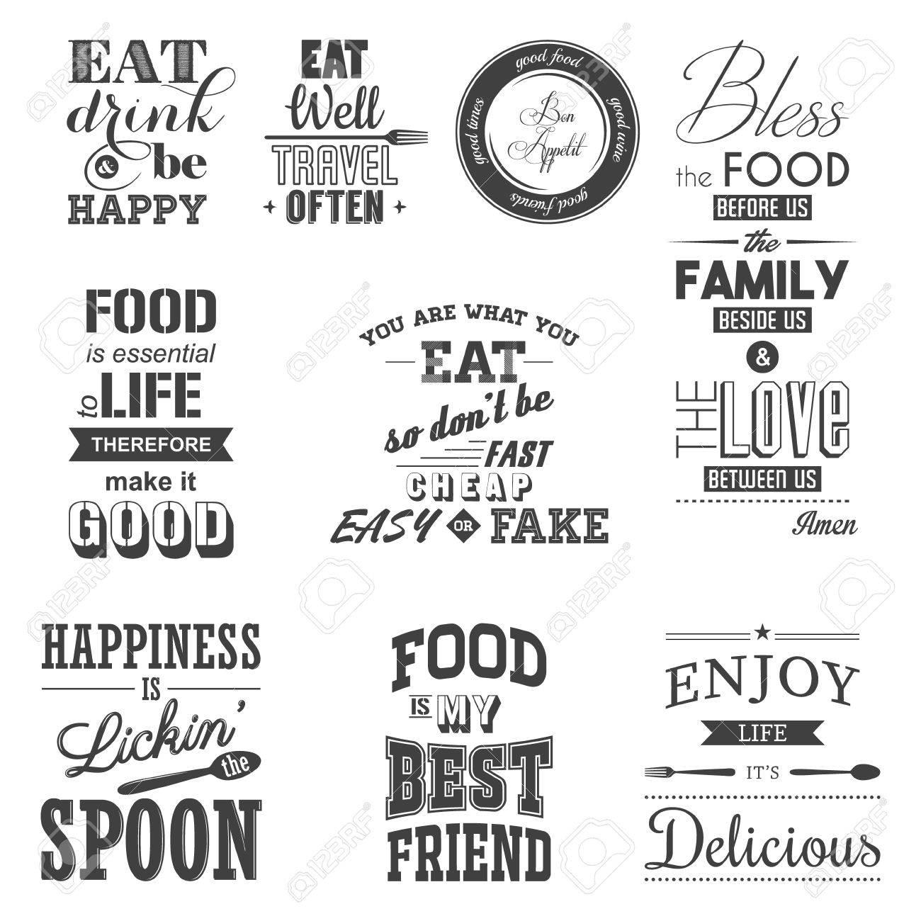 Set of vintage food typographic quotes. - 43246559