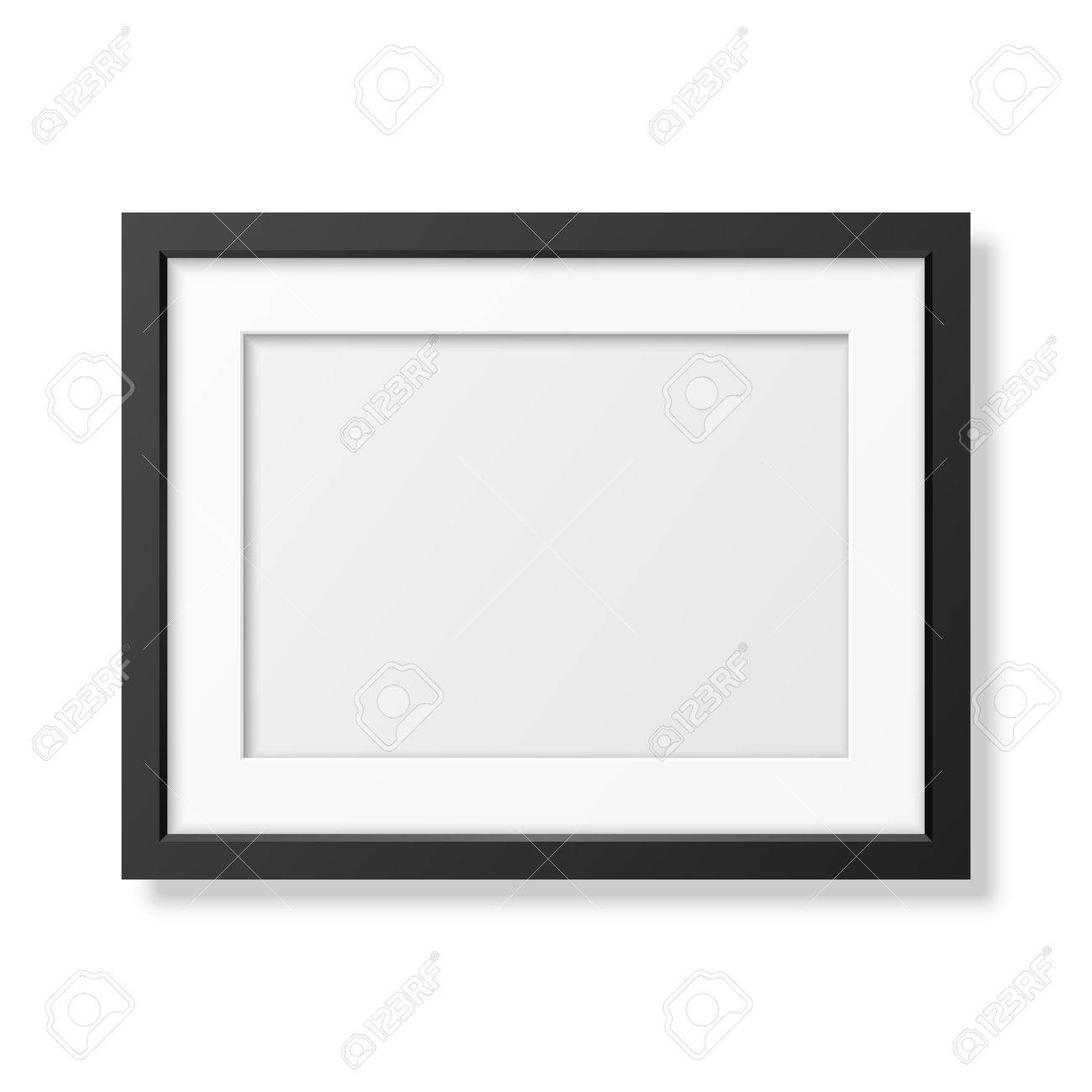 Realistic black frame A4 isolated on white. It can be used for presentations. - 43431660