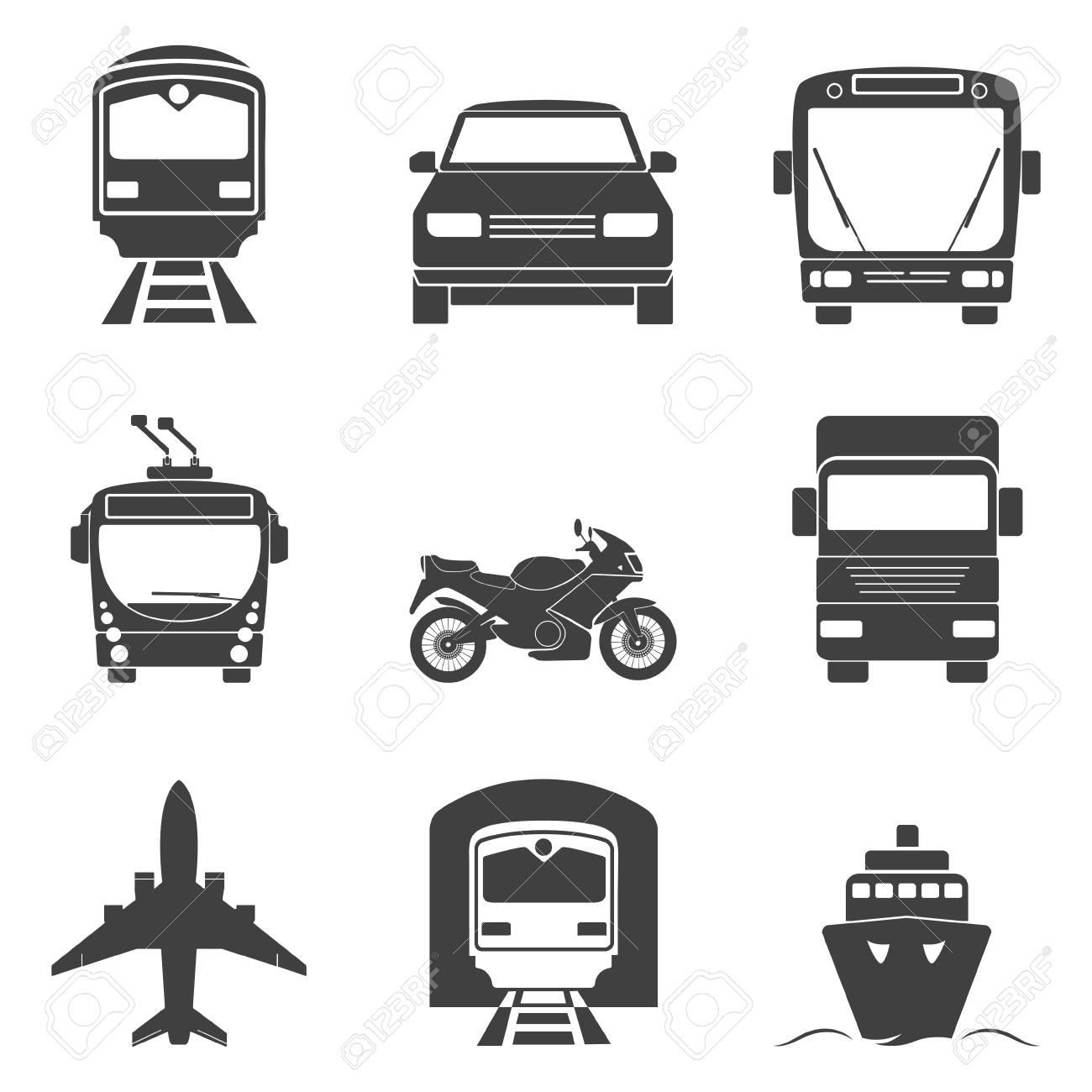 Simple monochromatic transport icons set. - 43670311