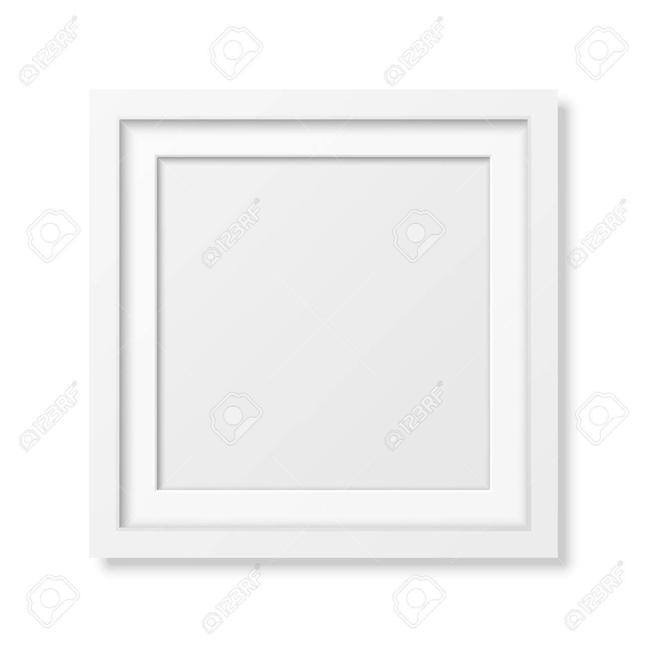 Realistische Quadratischen Weißen Rahmen Auf Weißem Isoliert. Es ...