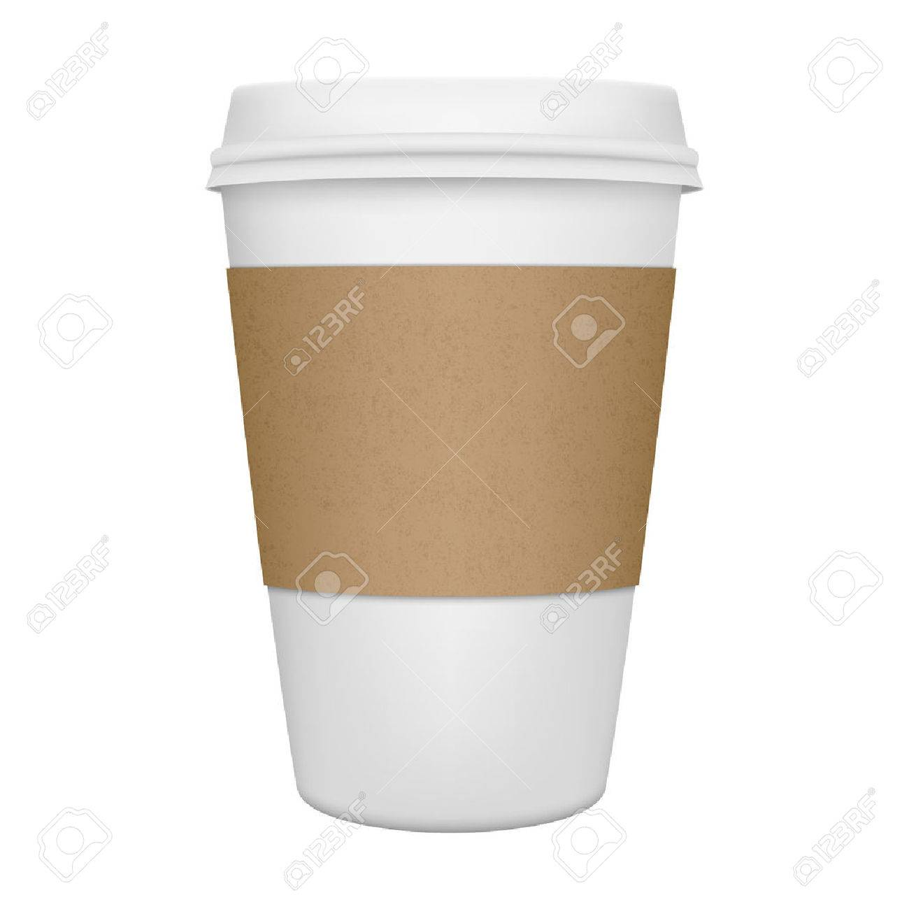 Realistic paper coffee cup iIsolated. Vector EPS10 illustration. - 44033328