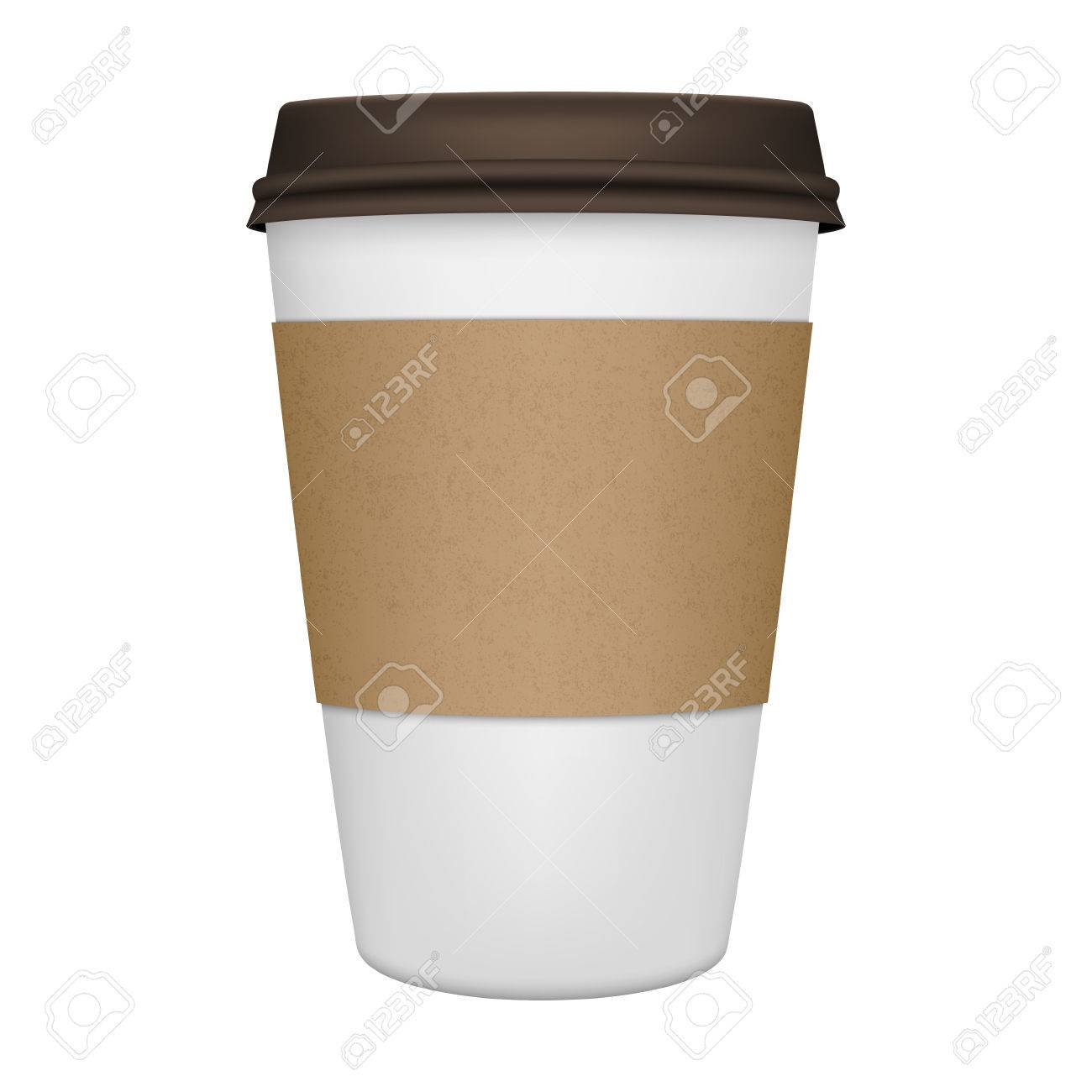 Realistic paper coffee cup iIsolated. Vector EPS10 illustration. - 44033327