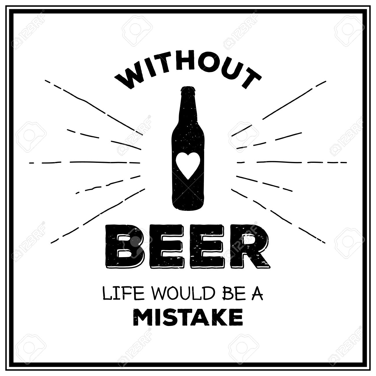Without beer life would be a mistake - Quote Typographical Background. Vintage craft beer brewery emblem, label, design element. Vector typography EPS8 illustration with grunge effect. - 44785971
