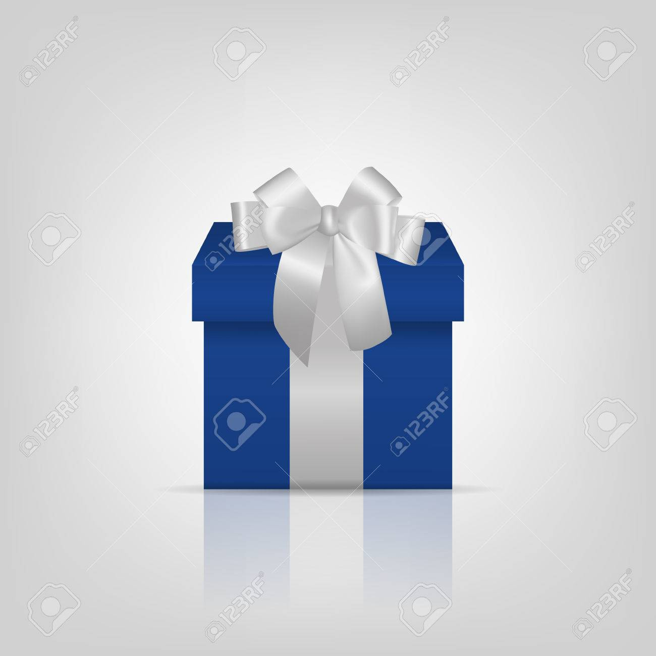 Blue square gift box with silver ribbon and bow Vector EPS10 illustration. - 45320008