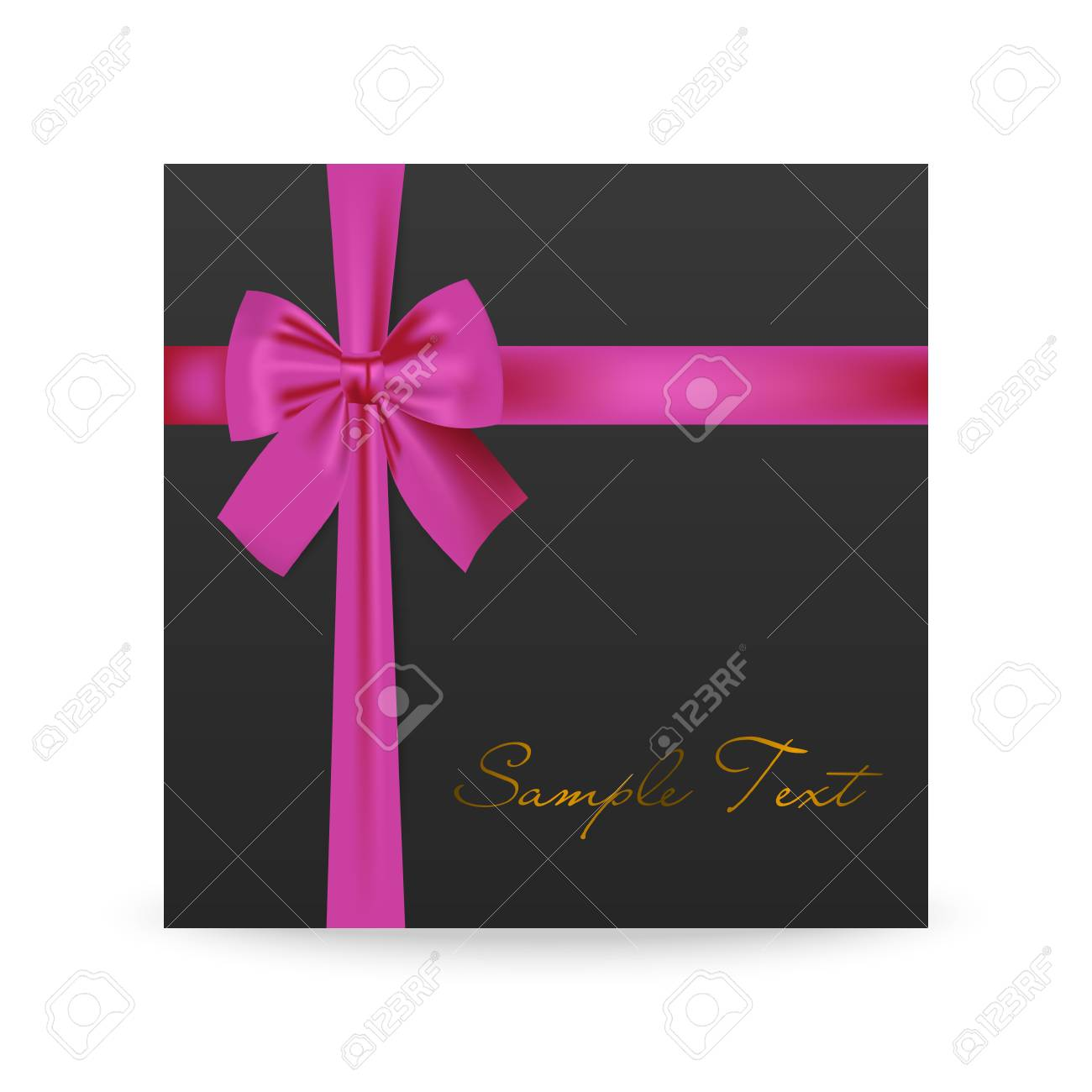 Black Greeting Card With Pink Bow Isolated On White Vector Eps10