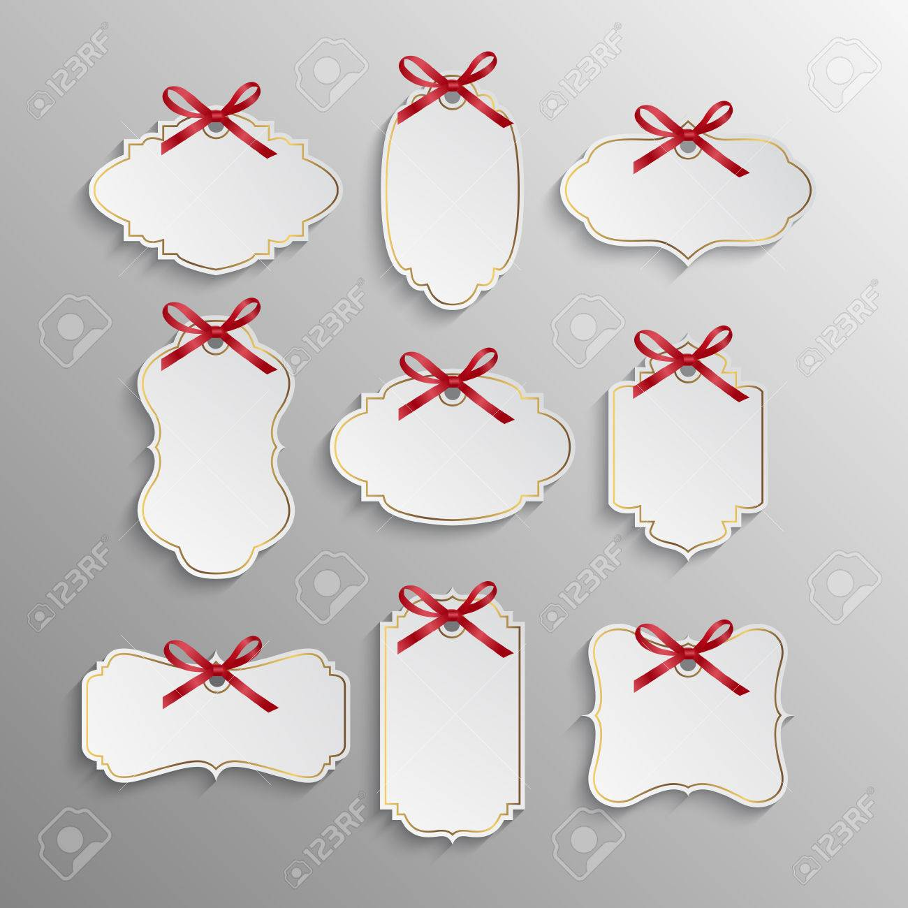 Set of elegant realistic white paper tags with red bows and golden elements. Vector EPS10 illustration. - 45322713