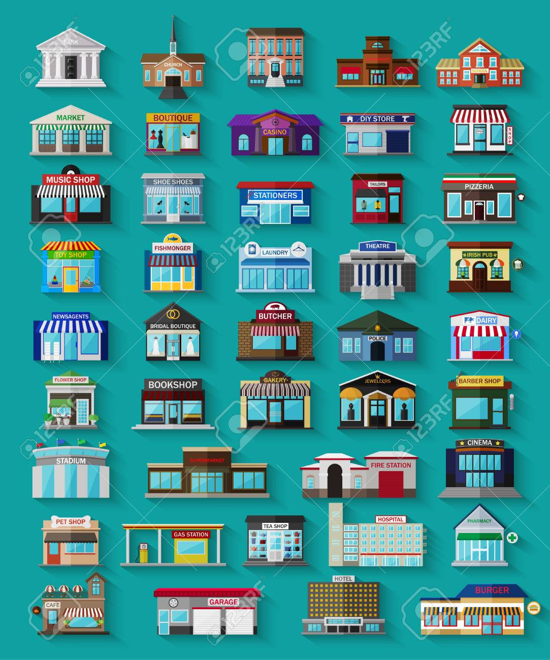 Set of the flat city buildings and shops. Vector illustration. - 46081304