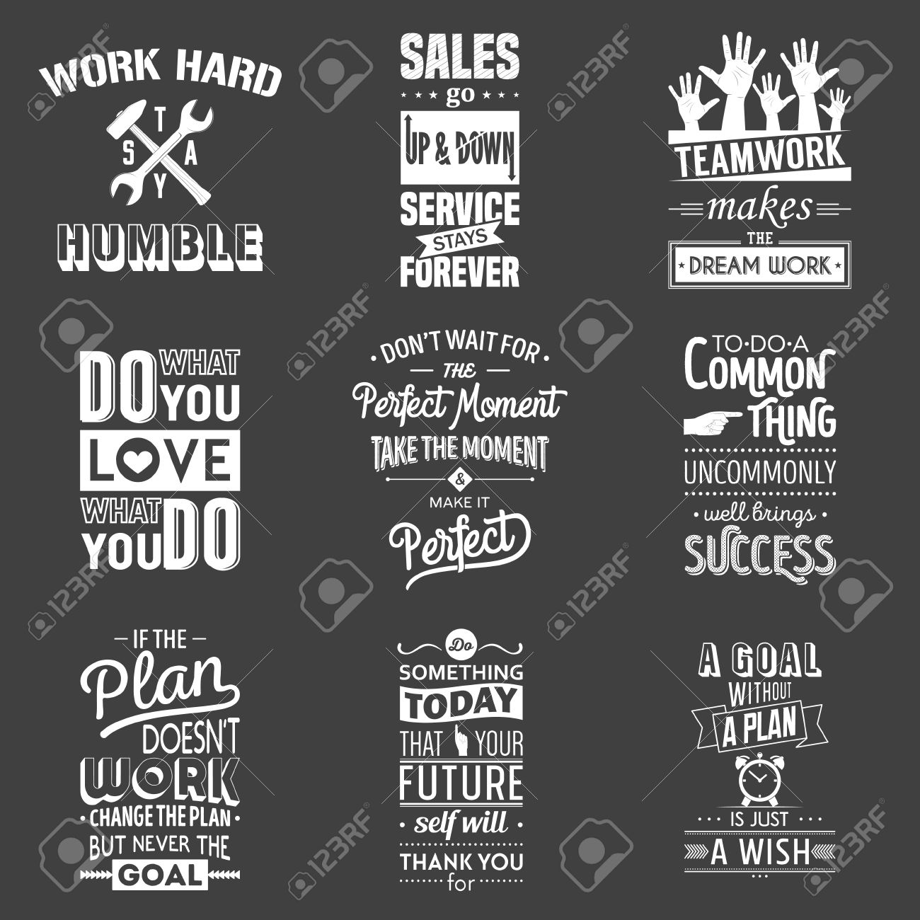 Set Of Vintage Business Motivation Typographic Quotes Vector