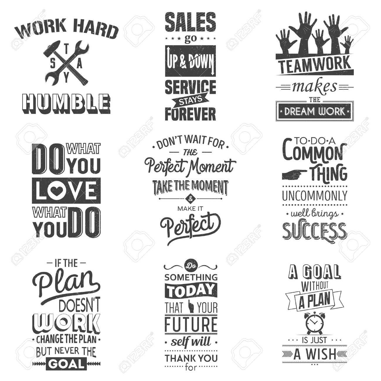 Set of vintage business motivation typographic quotes. Grunge effect can be edited or removed. Vector illustration. - 46482326