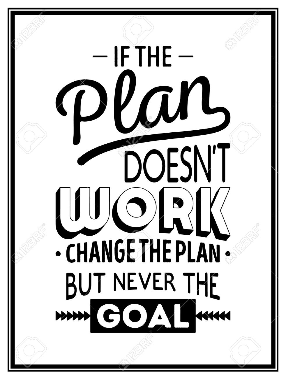 If the plan does not work, change the plan, but never the goal - Quote Typographical Background. Vector illustration. - 46482801