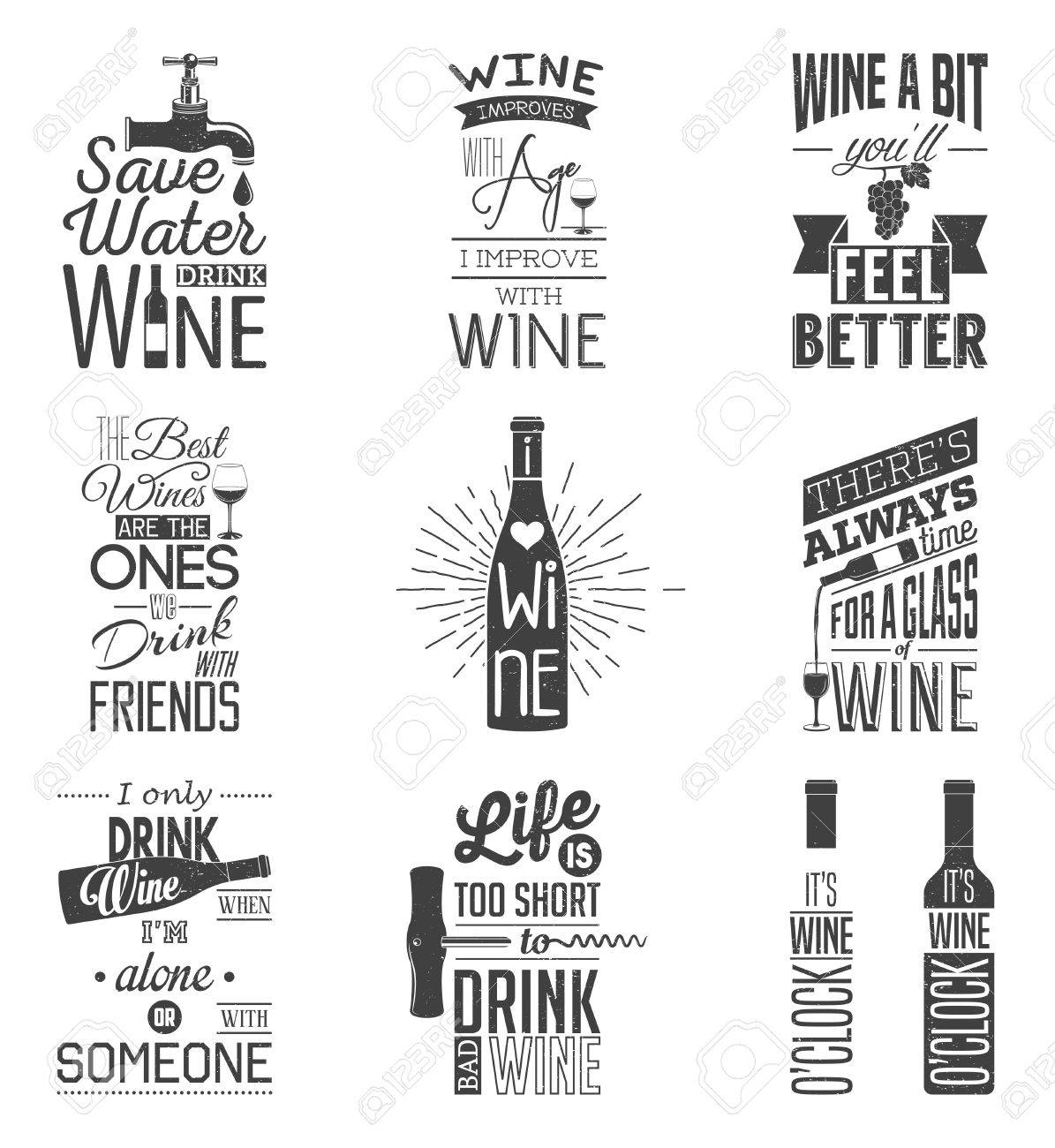 Set of vintage wine typographic quotes. Grunge effect can be edited or removed. - 46862416