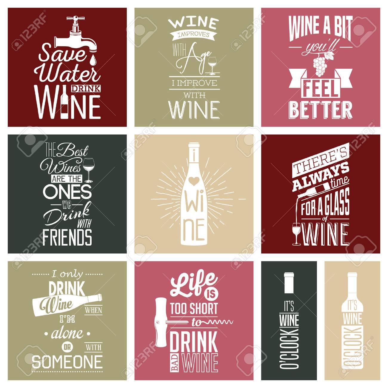 Set of vintage wine typographic quotes. - 46862425