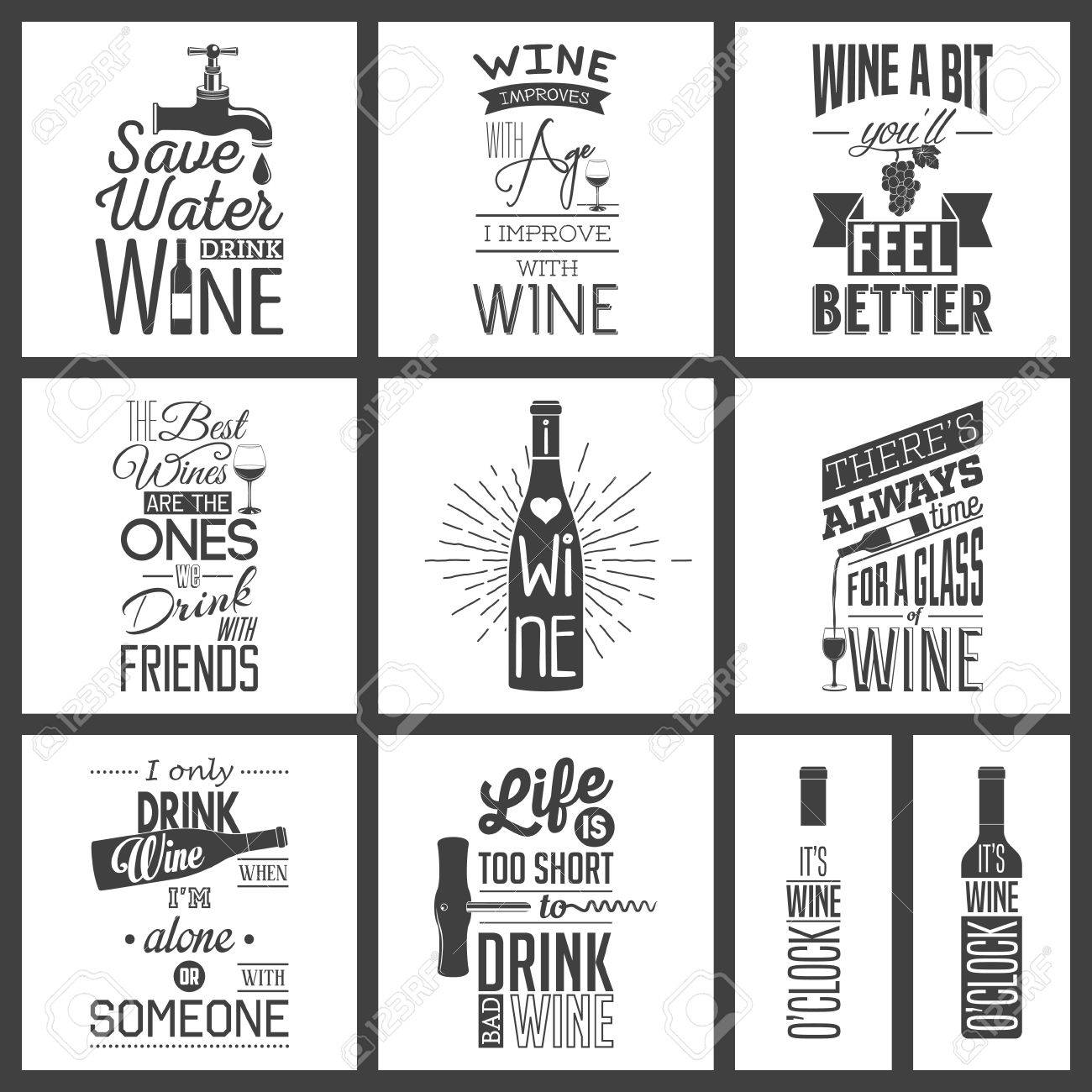 Set of vintage wine typographic quotes. - 46862423