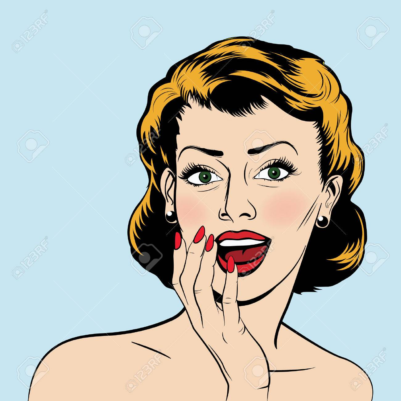 Beautiful surprised woman in the pop art comics style. Vector EPS10 illustration. - 47670863