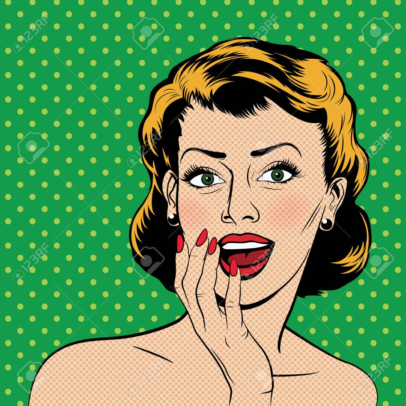 Beautiful surprised woman in the pop art comics style. Vector illustration. - 47670941