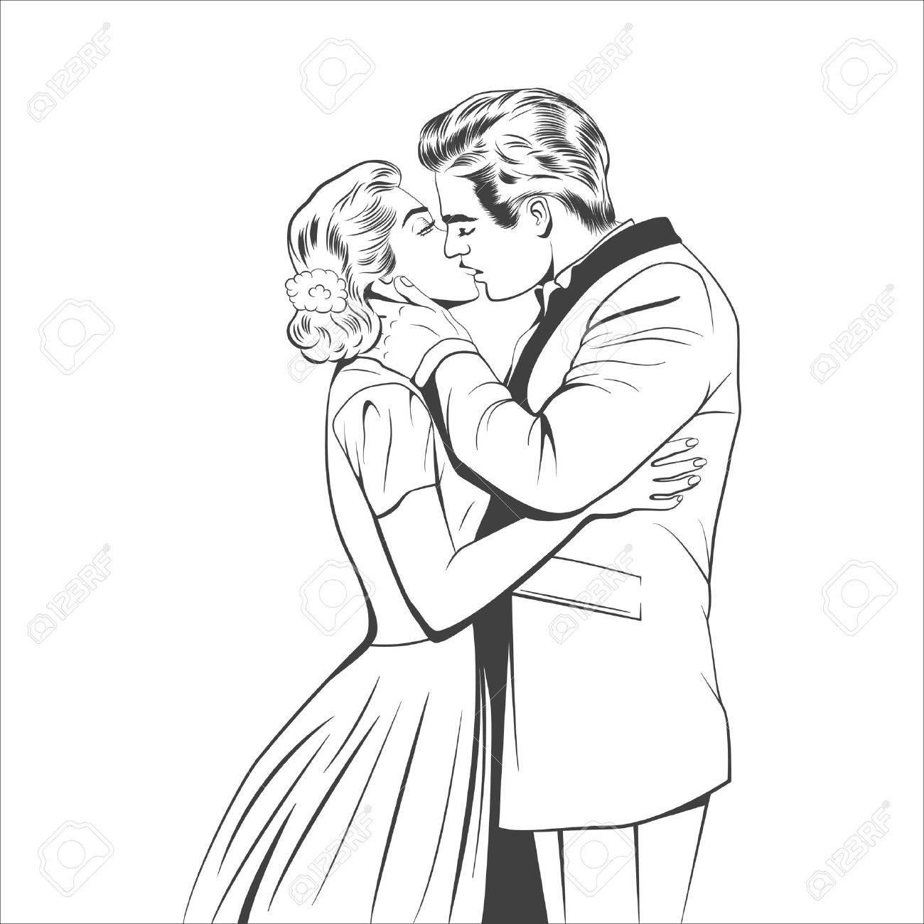 レトロなスタイルのカップルはキス。ベクトル eps8 イラスト