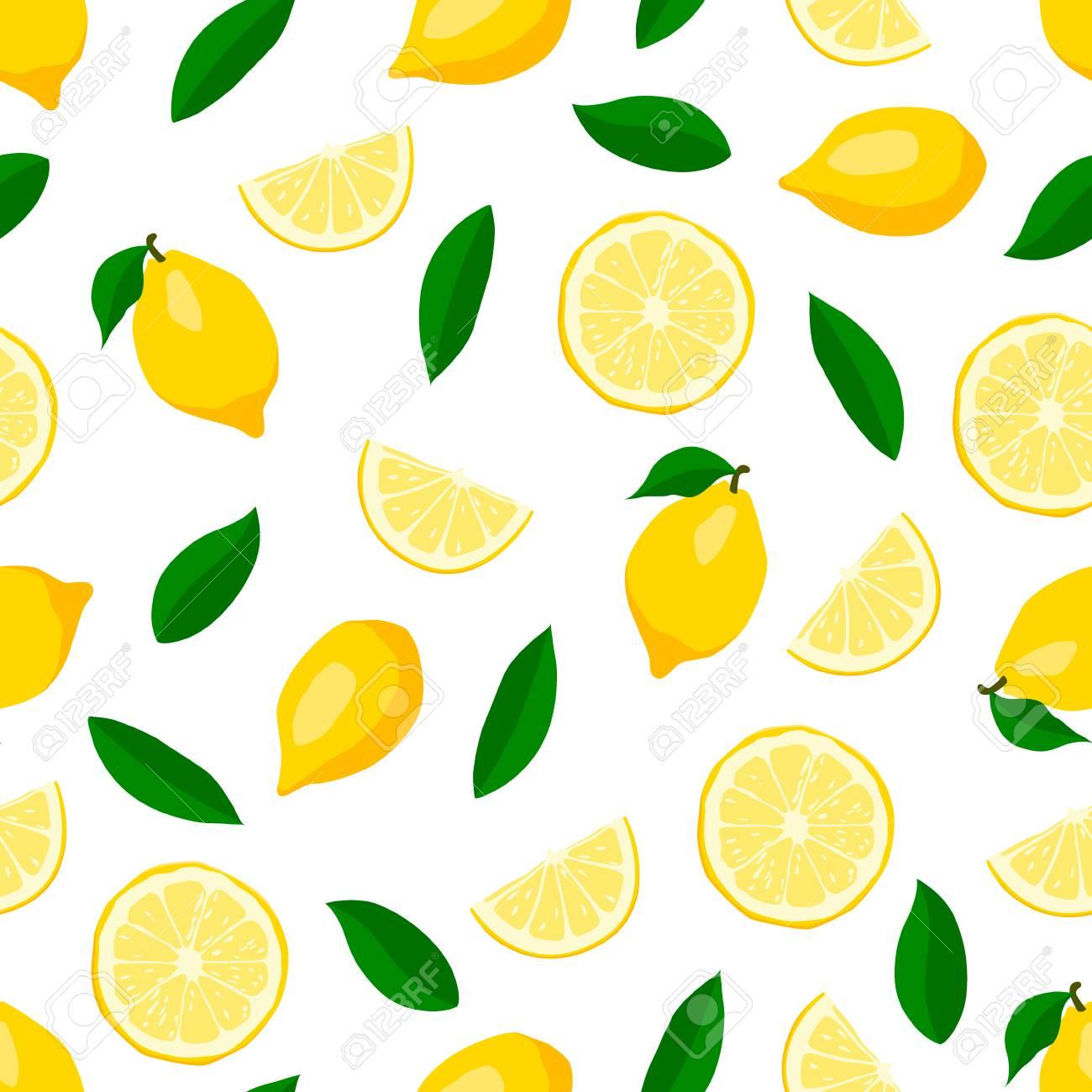 かわいいレモンのシームレスなパターンのイラスト素材ベクタ Image