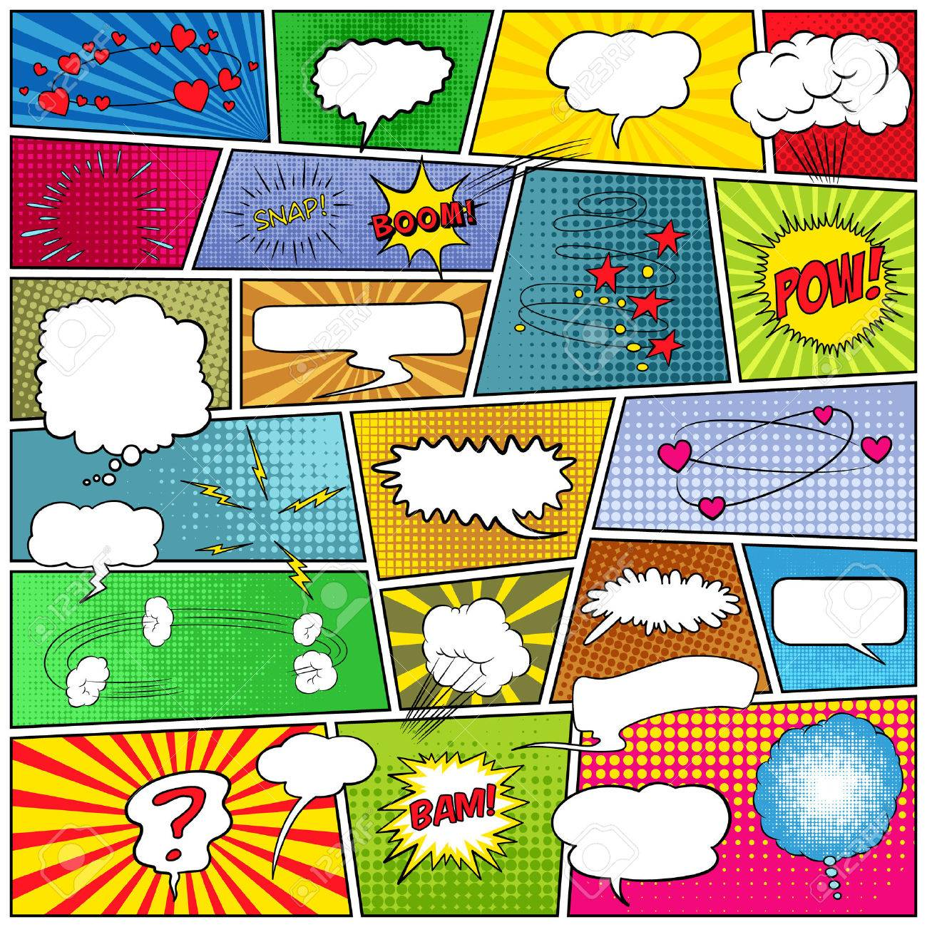 Mock-up of a typical comic book page with speech bubbles, symbols, sound effects and colored halftone strip backgrounds. Vector EPS10 illustration. - 50720390
