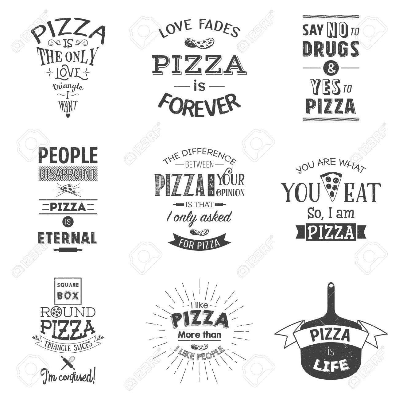 Set Di Citazioni Tipografiche Di Pizza D Epoca Grunge Effetto Può Essere Modificato O Rimosso Illustrazione Di Vettore Eps10