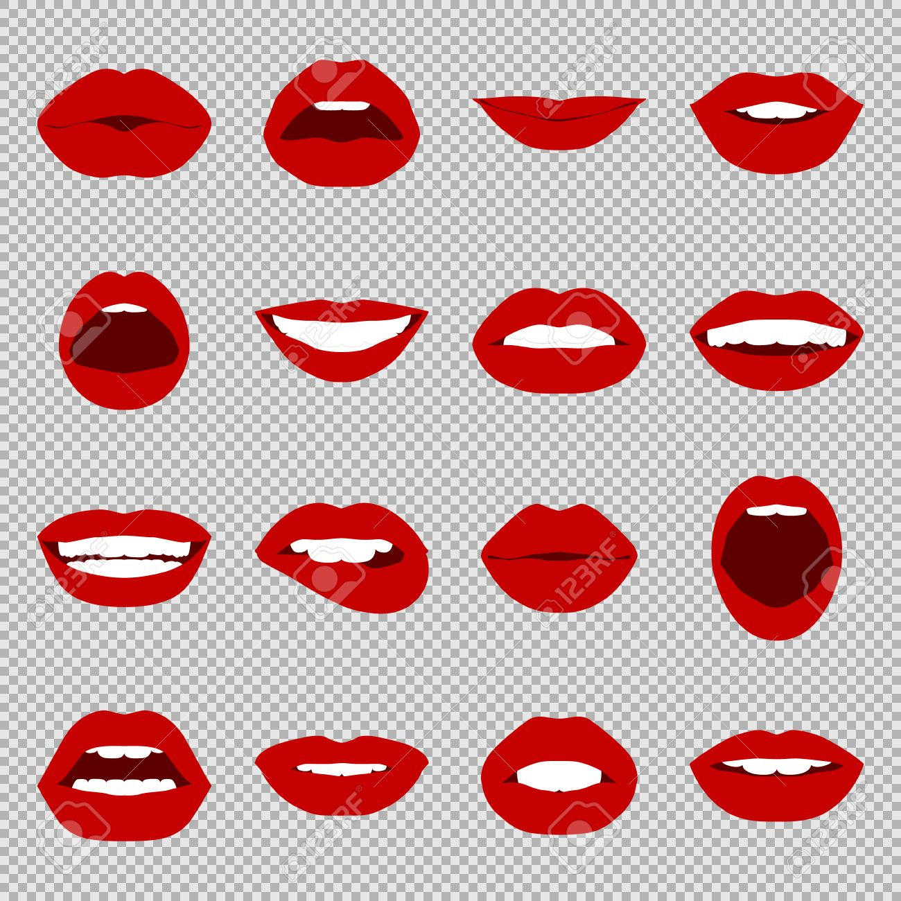 Lips set. Womans mouth close up with expressing different emotions. Vector EPS8 illustration. - 54103990