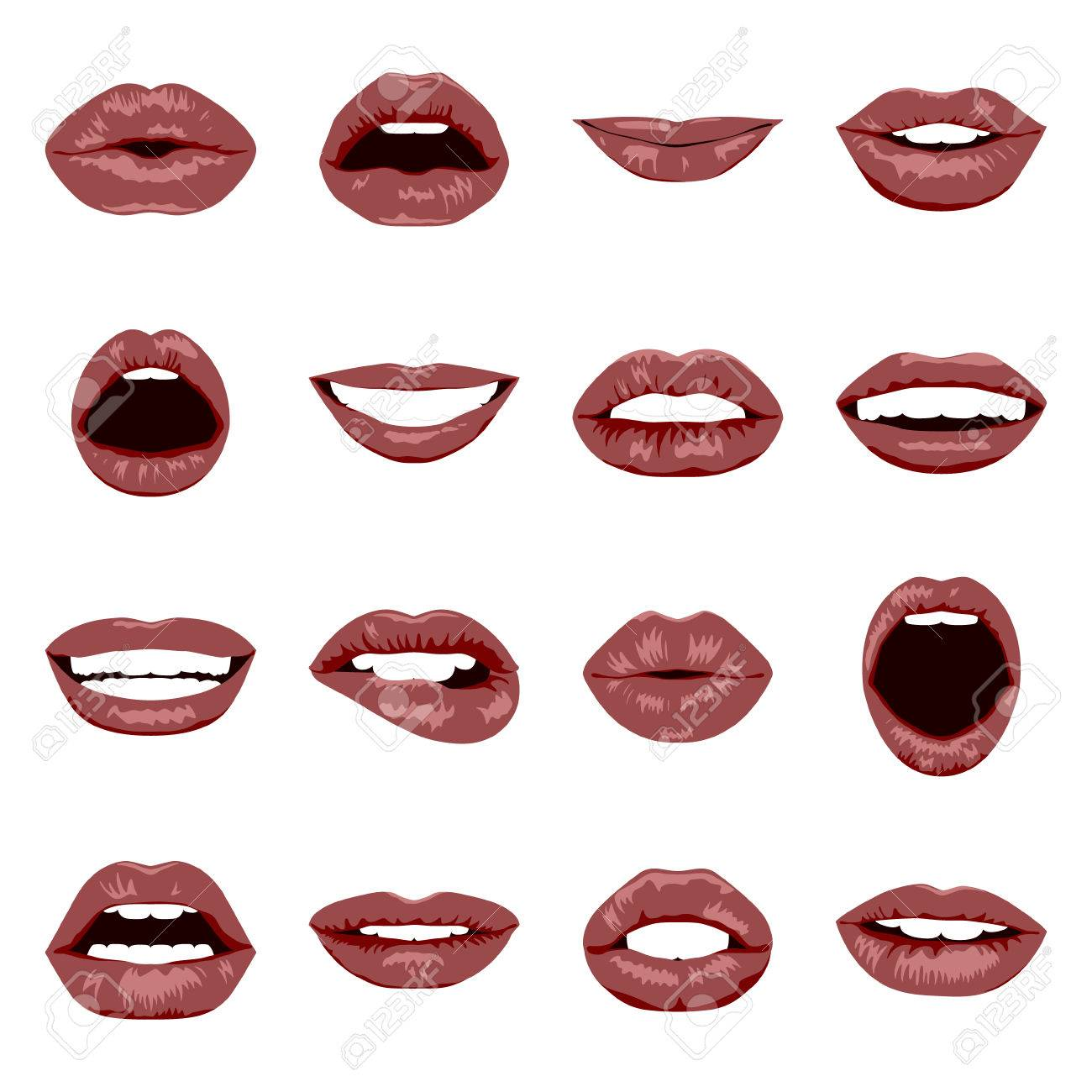 Lips set. Womans mouth close up with expressing different emotions. Vector EPS8 illustration. - 54104833