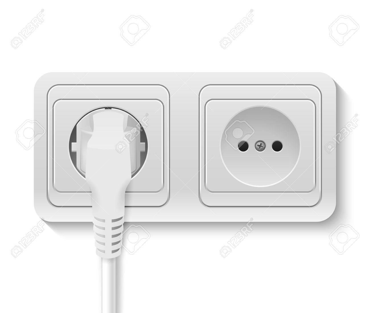 realistische kunststoff-steckdose mit kabel auf weißem anstecken