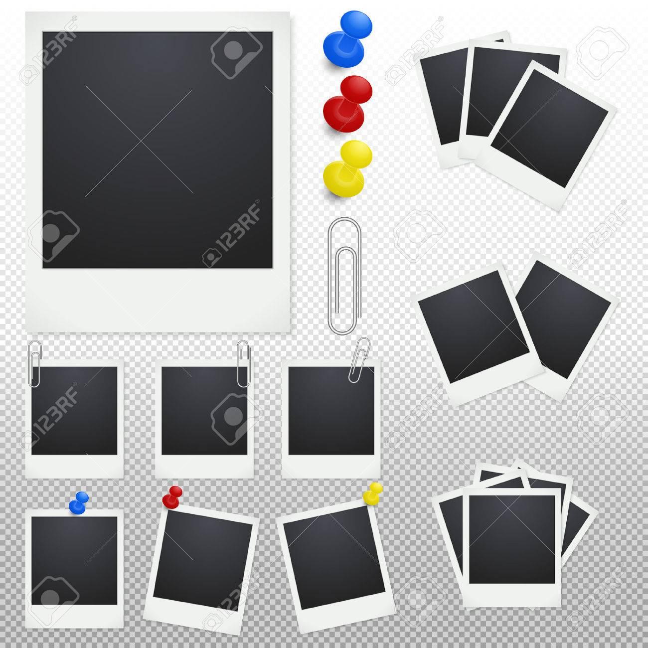Set Von Polaroid Bilderrahmen Mit Clips Und Reißzwecken Auf Einem ...