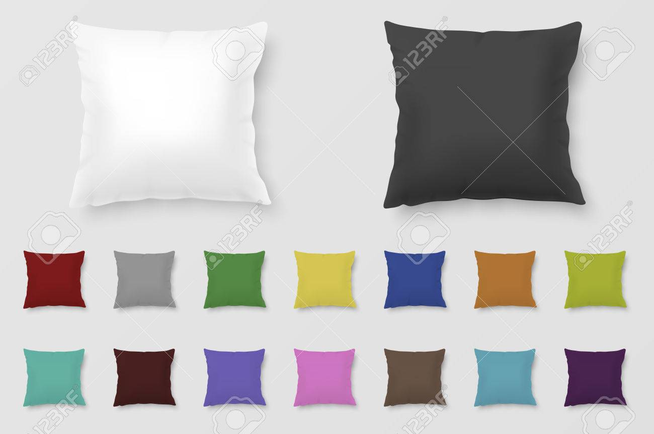 Set of realistic colored pillows. - 60480151
