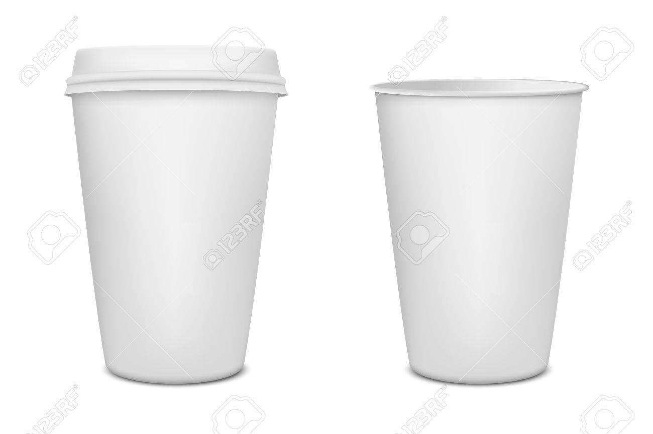 Realistische Leere Papier Kaffeetasse Isoliert Auf Weißem ...