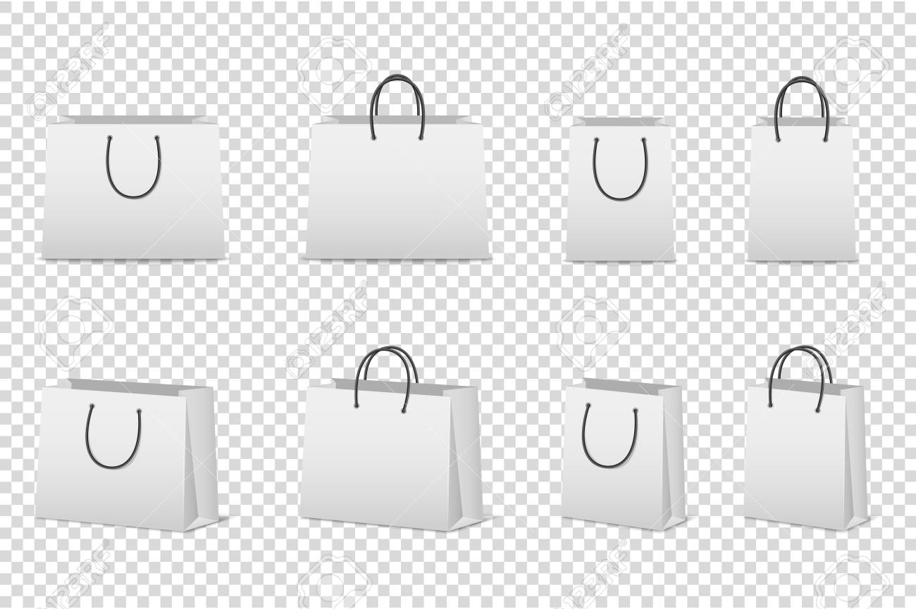 Vector Blank White Paper Bag Set Isolated. Design Template For ...