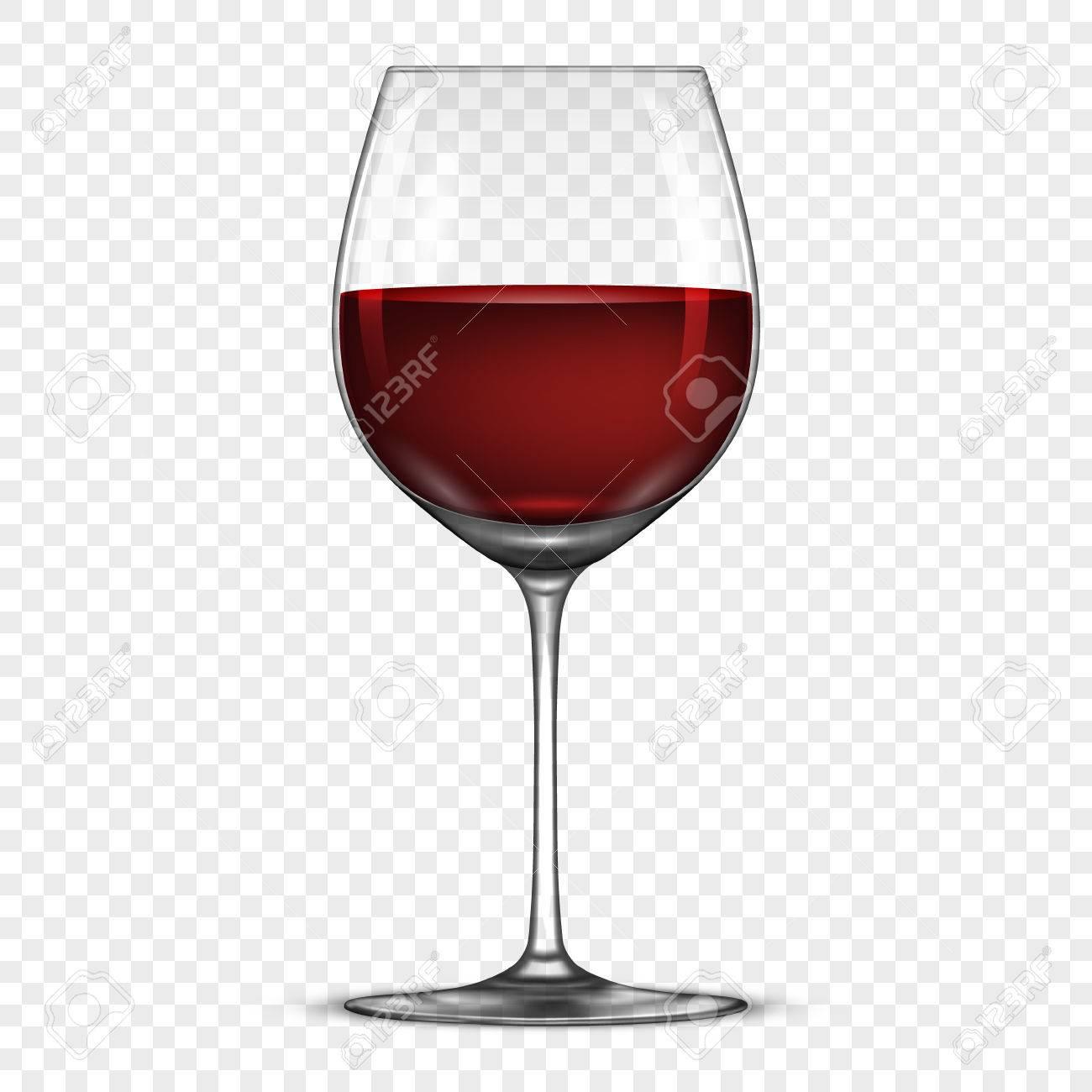 Verre à vin réaliste de vecteur avec l'icône du vin rouge isolé sur fond transparent. Modèle de conception en EPS10.