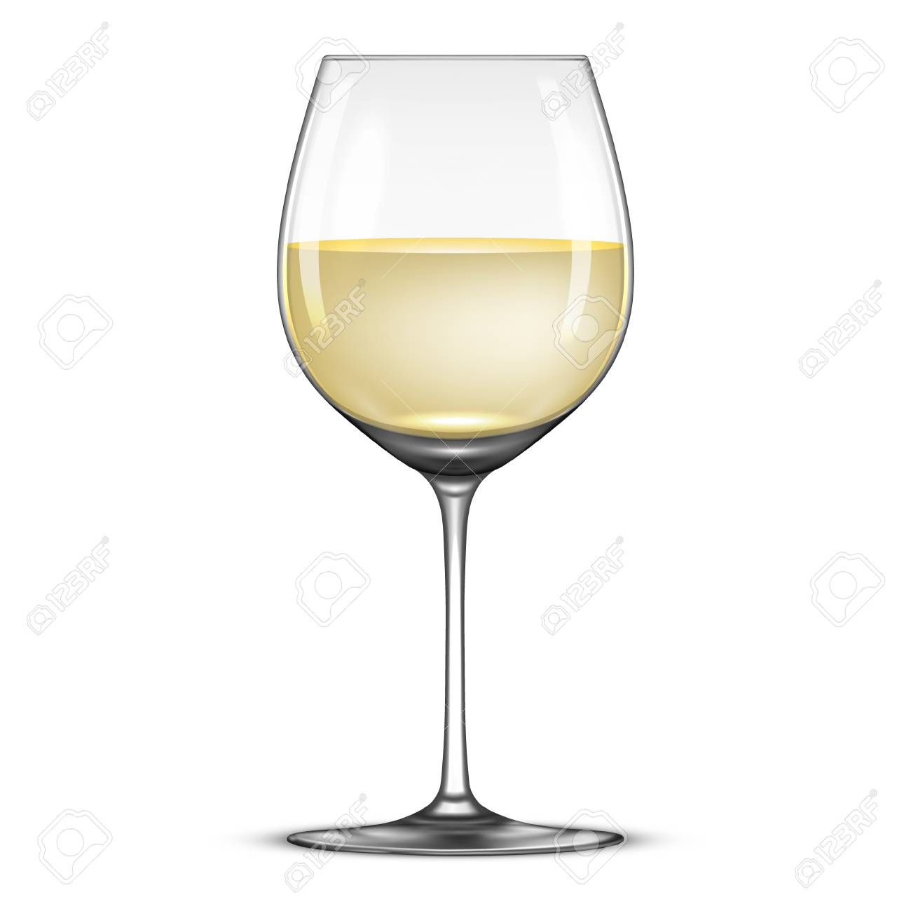 Vecteur réaliste avec l'icône Wineglass vin blanc isolé sur fond blanc.