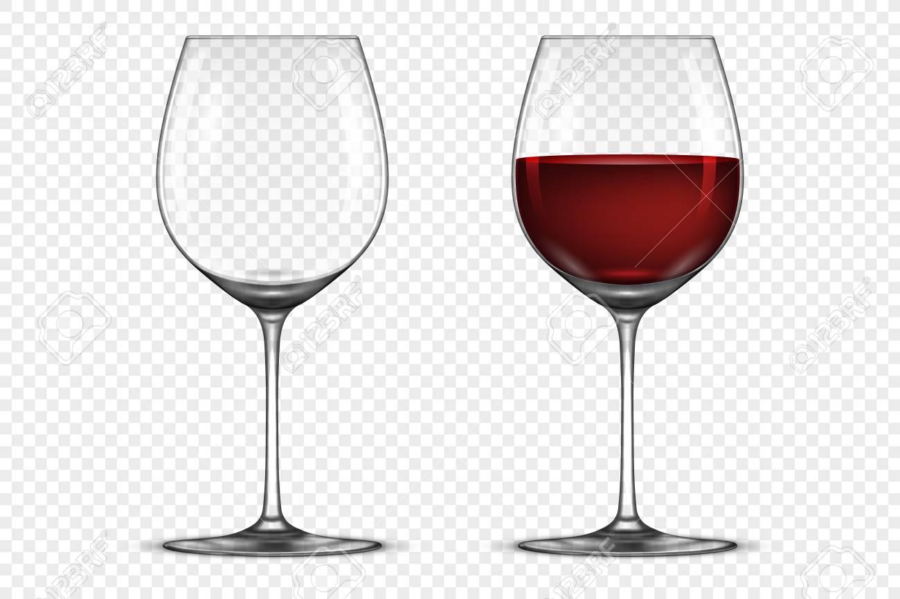 Jeu d'icônes de verre à vin réaliste Vector vide et avec du vin rouge, isolé sur fond transparent