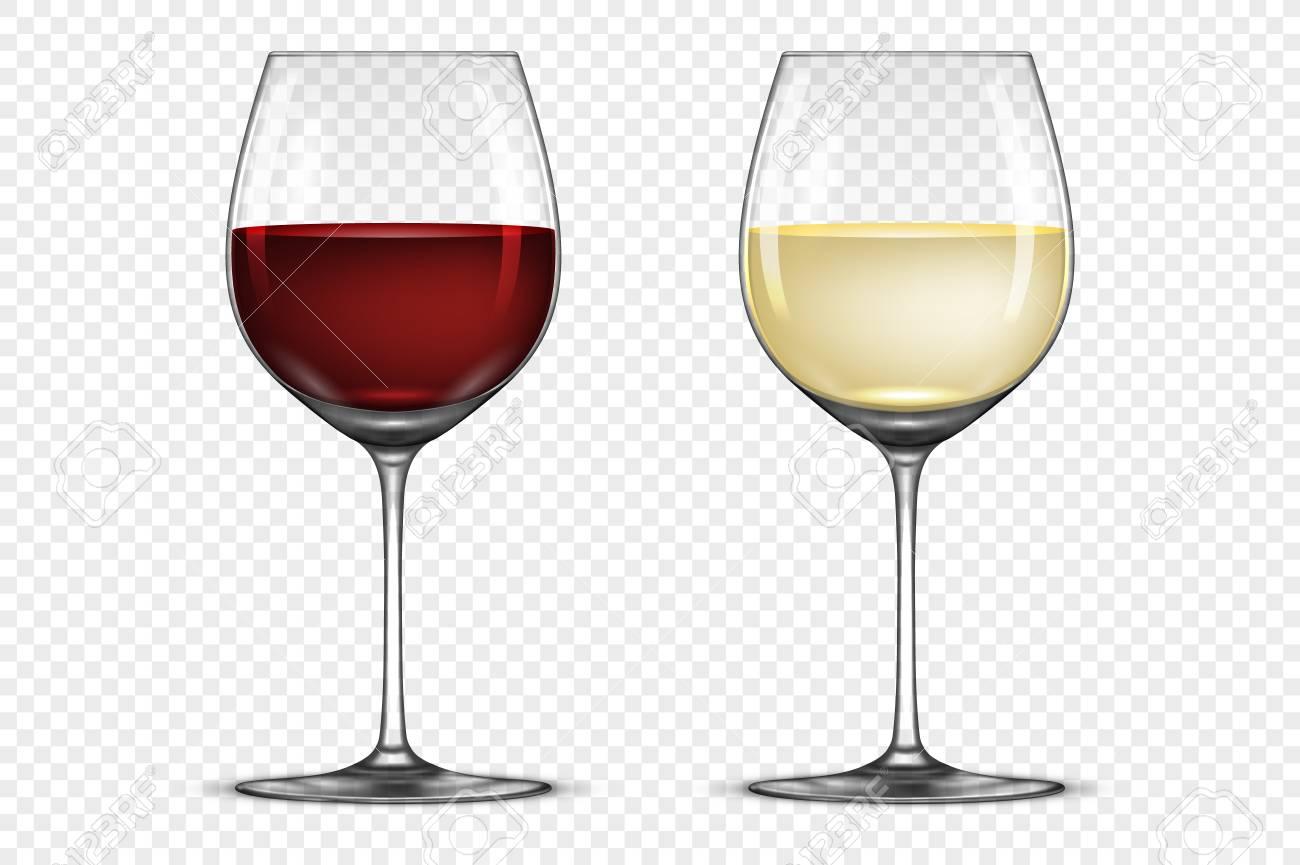 Jeu d'icônes de verre à vin réaliste Vector avec vin blanc et rouge, isolé sur fond transparent.