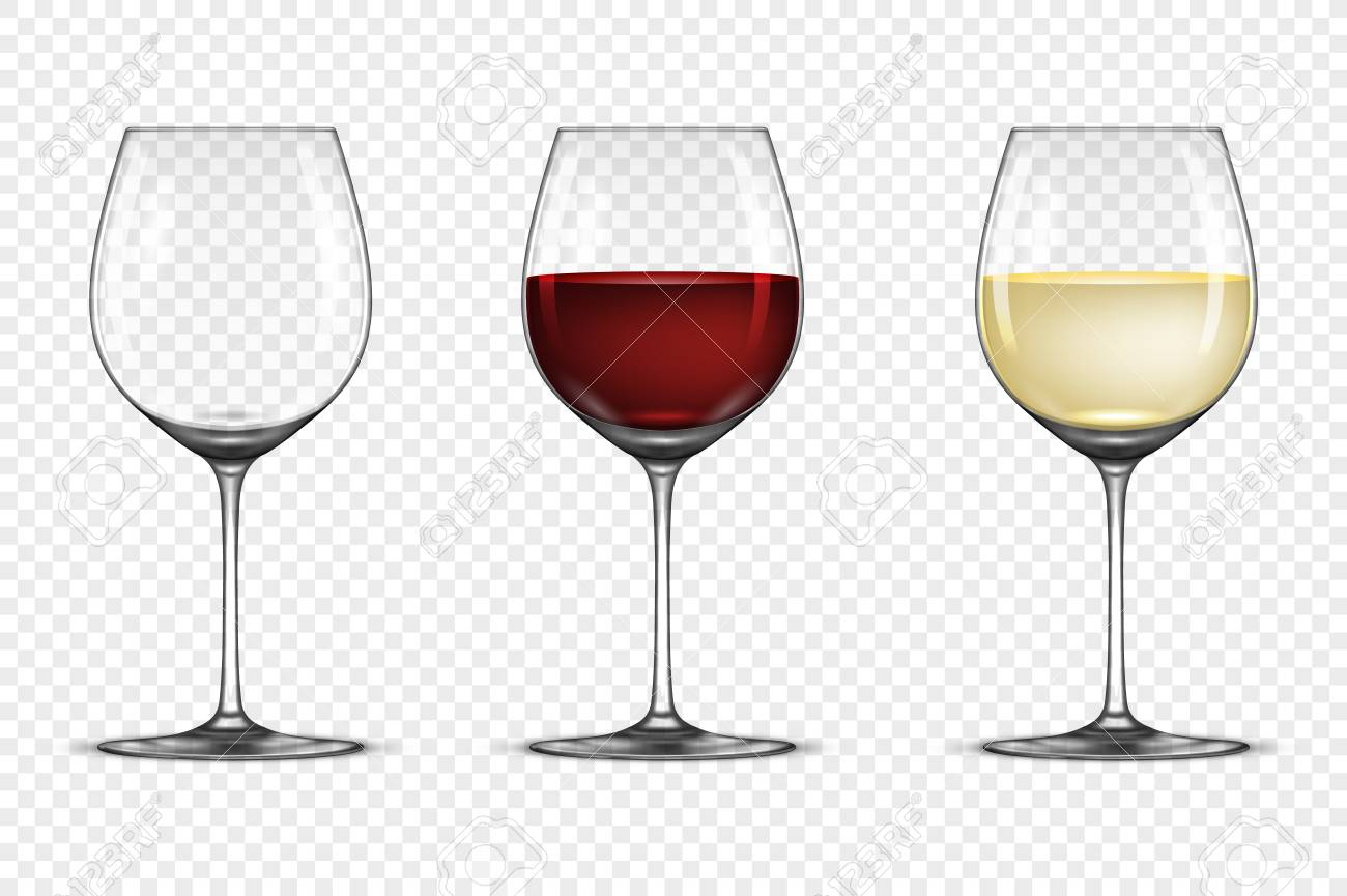 Jeu d'icônes de verre à vin réaliste Vector vide, avec vin blanc et rouge, isolé sur fond transparent. Modèle de conception en EPS10.