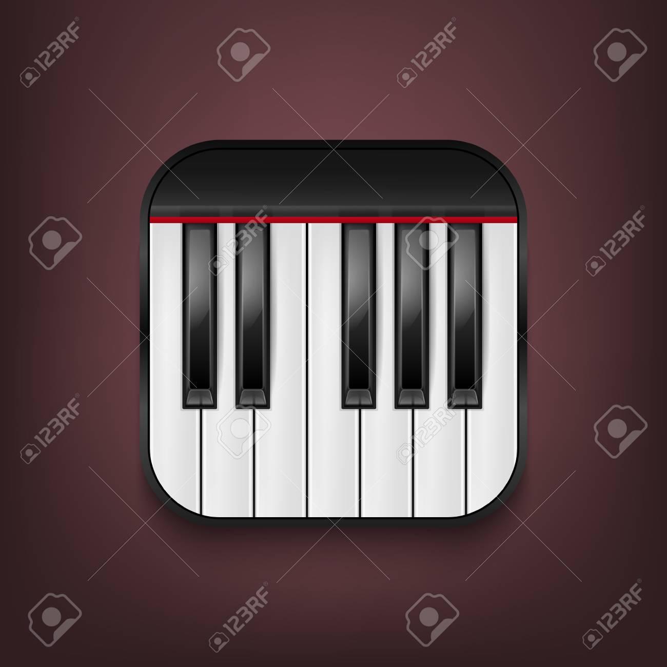 Icono De Teclado De Piano Fotorealista De Vector. Plantilla De ...