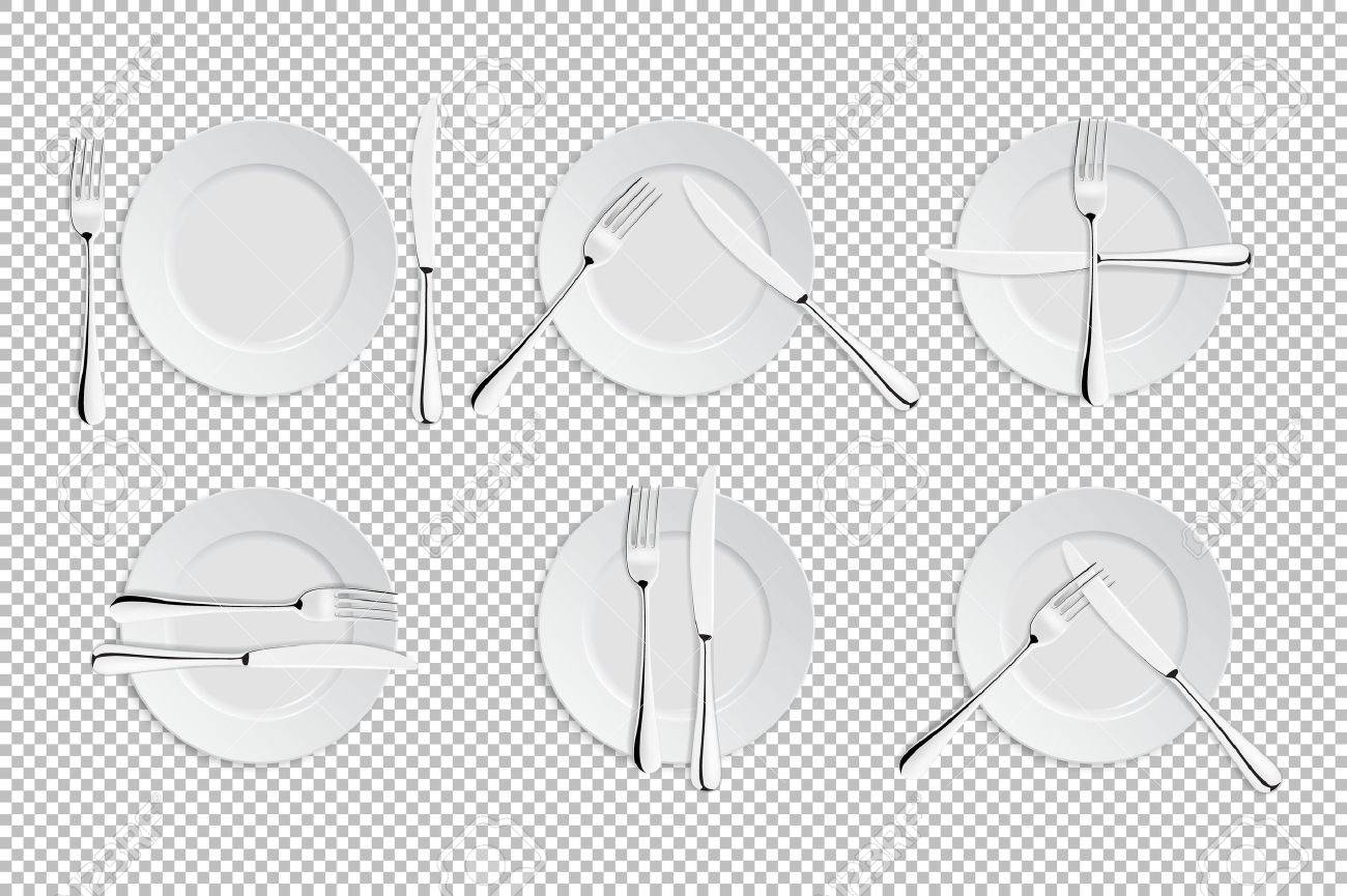 Vector realistic cutlery and signs of table etiquette. Catering facilities isolated icons. Set of of forks, table knives and plates. EPS10 illustration of tableware for cafes, restaurants etc. - 75596487