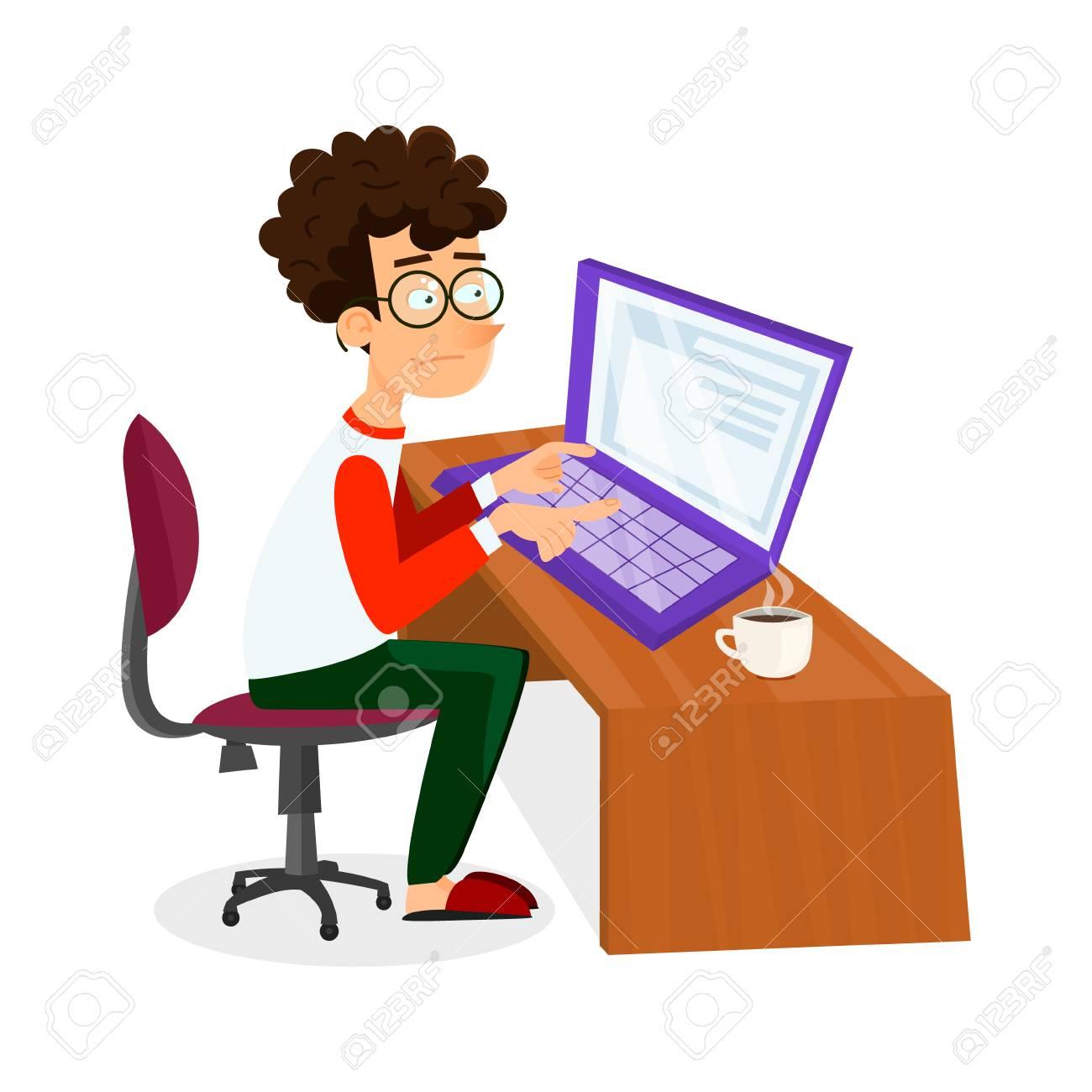 ba7b2a99db Vector cartoon jeune programmeur homme travaille avec un ordinateur portable.  EPS10 illustration d'étudiant