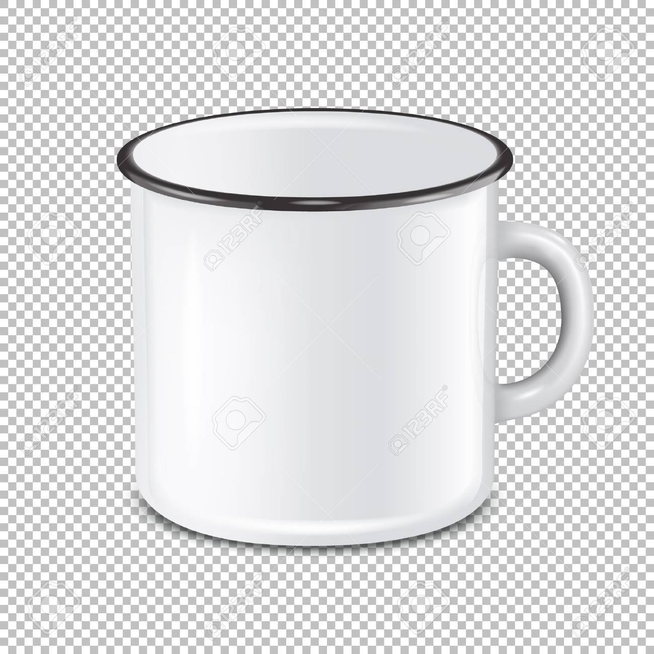 Vector Realistic Enamel Metal White Mug Isolated On Transparent ...