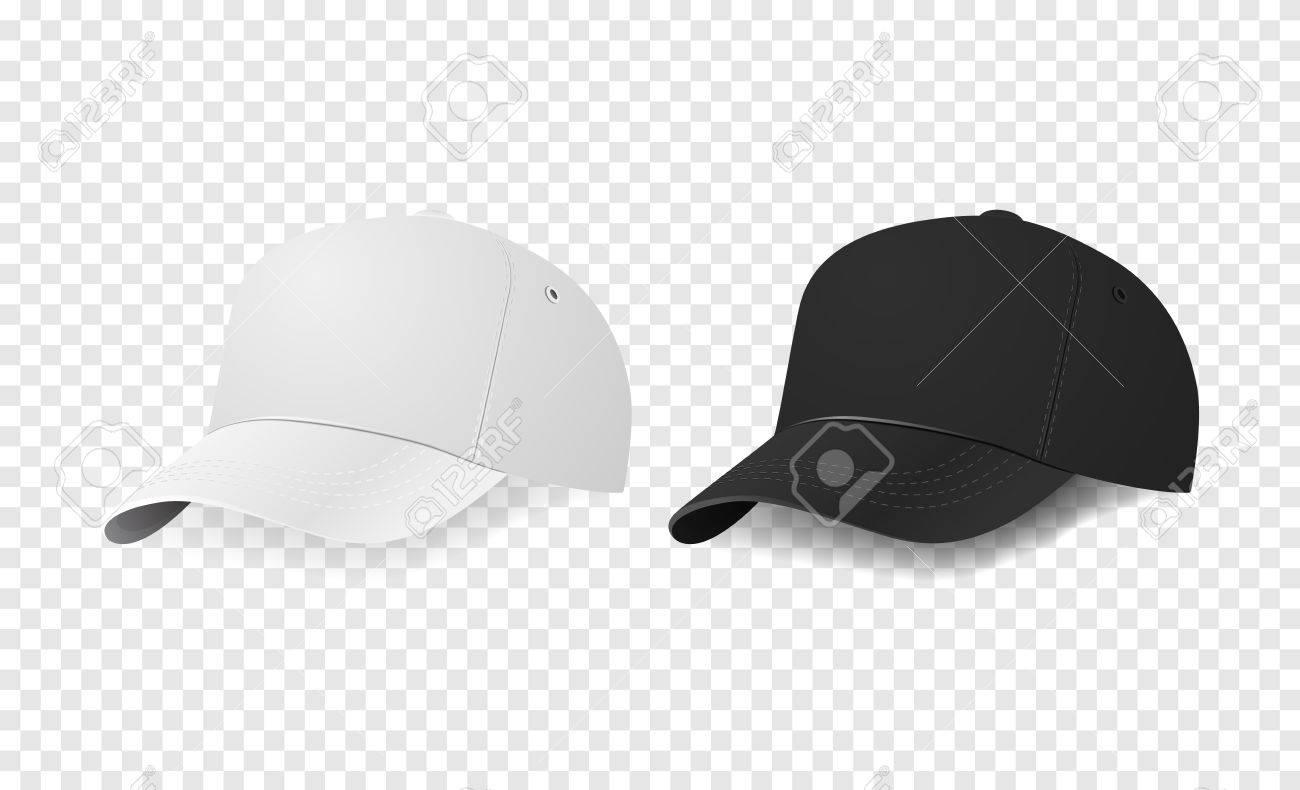 white and black baseball cap icon set design template closeup