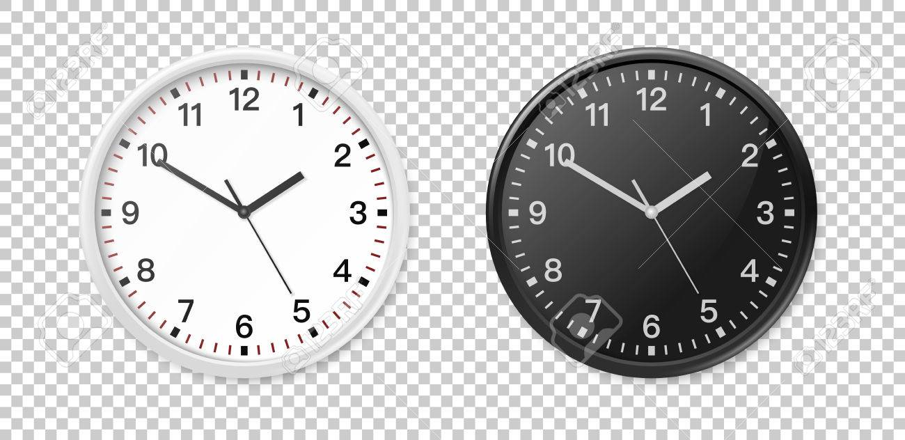 office clock wall. White And Black Wall Office Clock Icon Set. Design Template Closeup In Vector. Mock