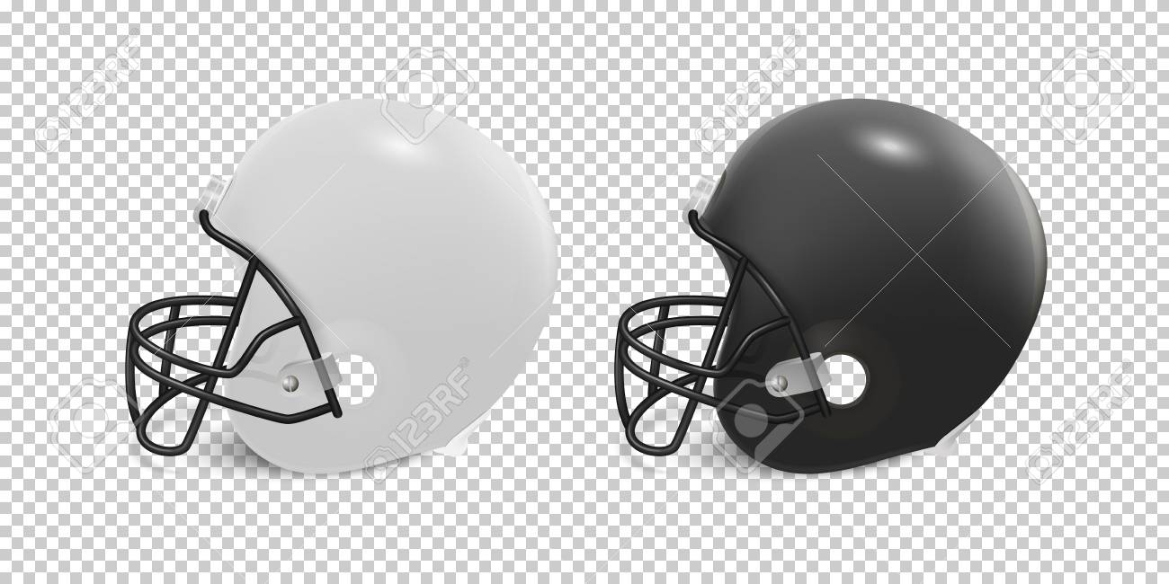 b8038c5c Realistic classic american football helmet set - black and white color.  Isolated on transparent background