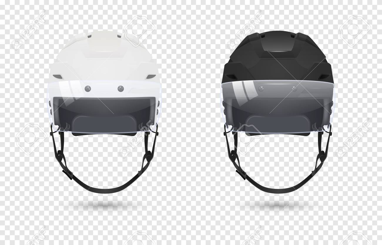 eb4dd3ca Realistic classic ice hockey helmets with visor set - black and white color.  Isolated on